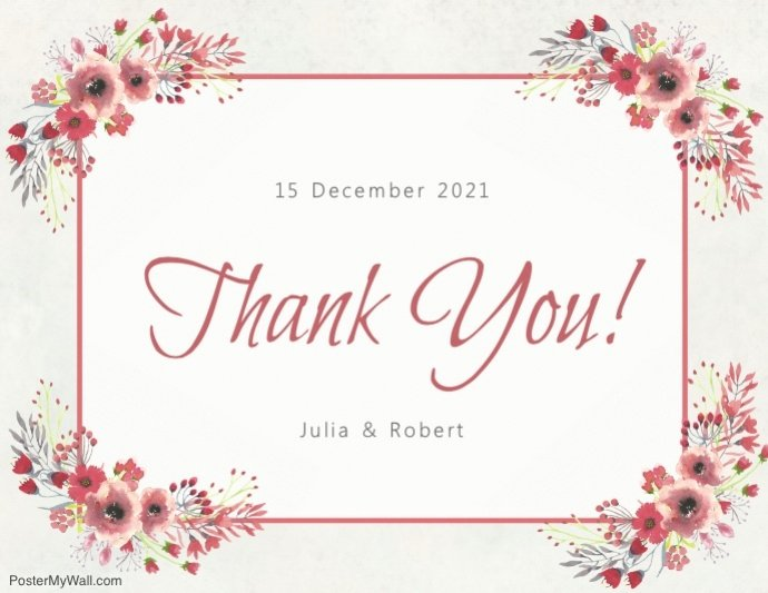 Thank You Cards Template Awesome Copy Of Floral Thank You Card Template