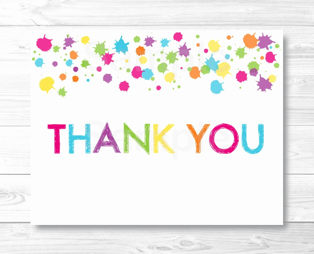Thank You Cards Template Beautiful Rainbow Art Party Thank You Card Template Art Birthday Party