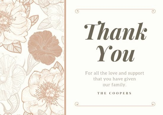 Thank You Cards Template Lovely Customize 33 Funeral Thank You Card Templates Online Canva