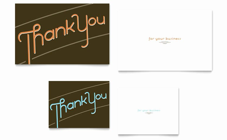 Thank You Cards Template New Thank You Note Card Template Word & Publisher