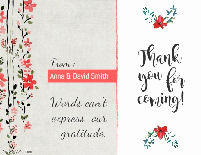 Thank You Postcard Template Fresh Copy Of Peach Floral Thankyou Card Template