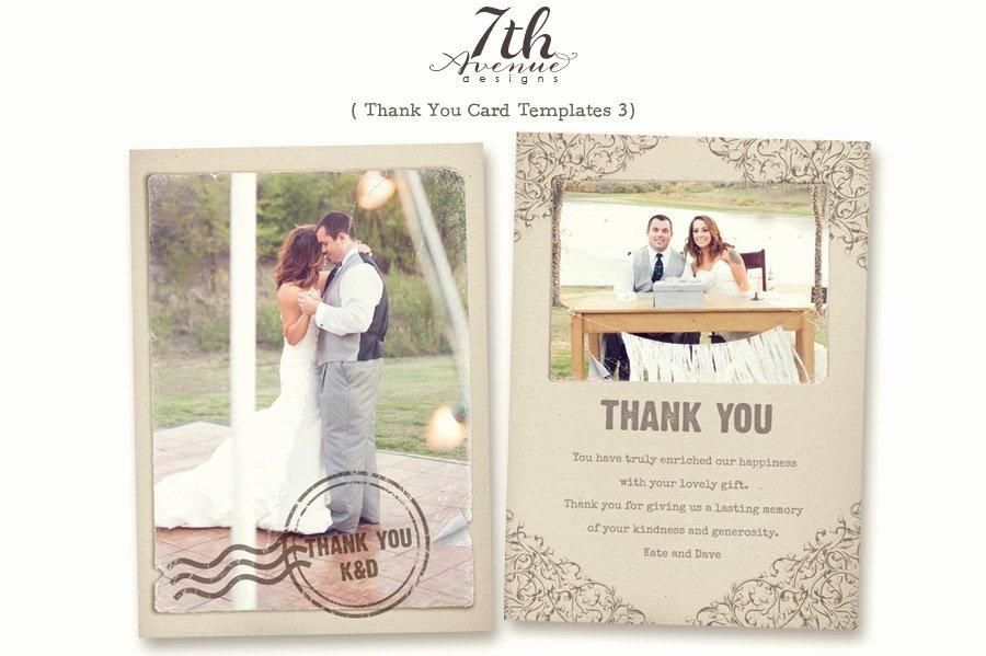 Thank You Postcard Template Lovely Thank You Card 3 Card Templates Creative Market
