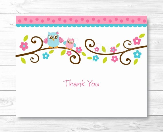Thank You Postcard Template New Pink Owl Thank You Card Folded Card Template Owl Baby
