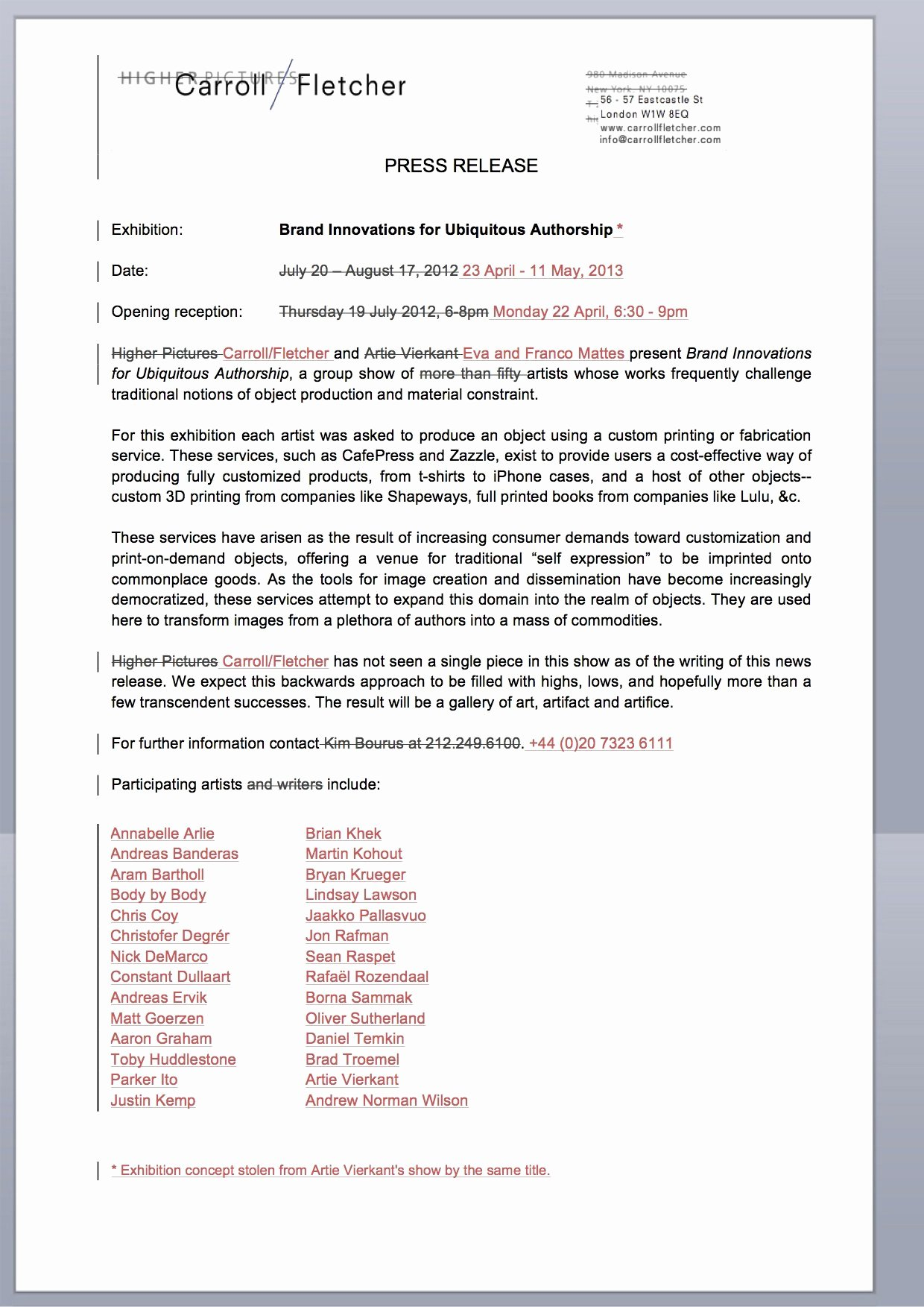 Theatre Press Release Template Awesome 10 Best Of theatrical Press Release Example