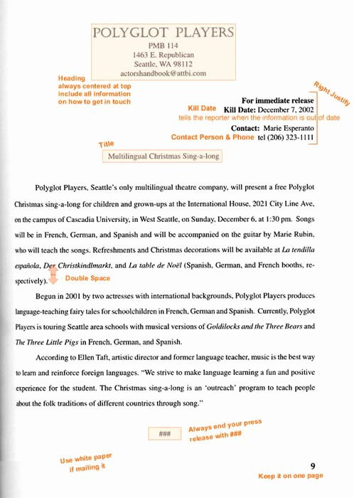 Theatre Press Release Template Inspirational format and Example Of A Press Release
