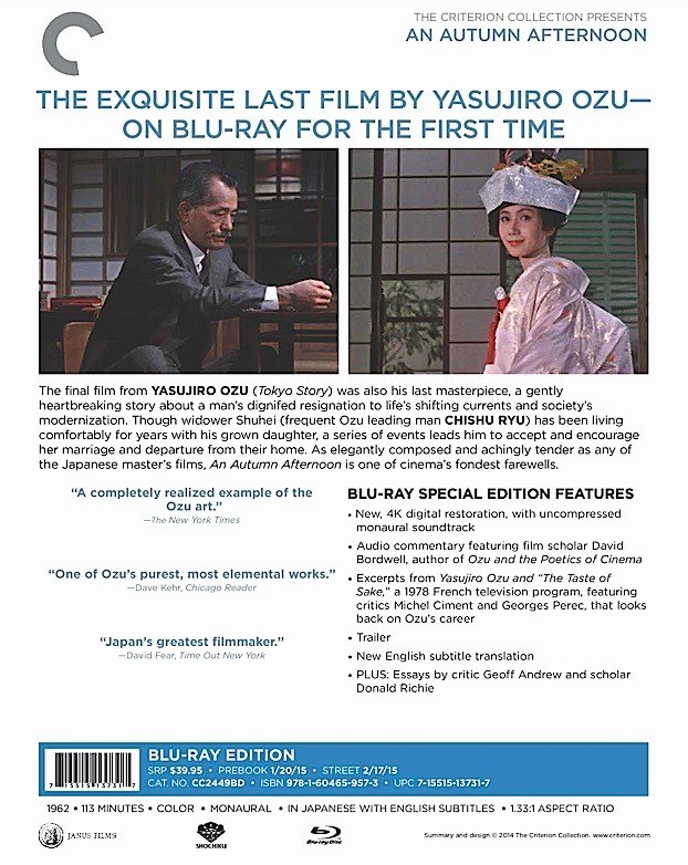 Theatre Press Release Template New Criterion Press Release An Autumn afternoon Blu Ray