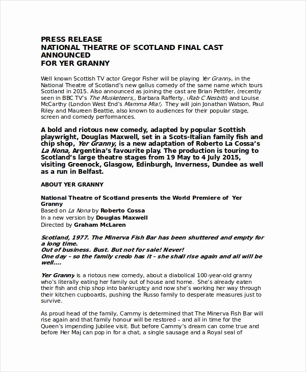 Theatre Press Release Template New Press Release Template 20 Free Word Pdf Document