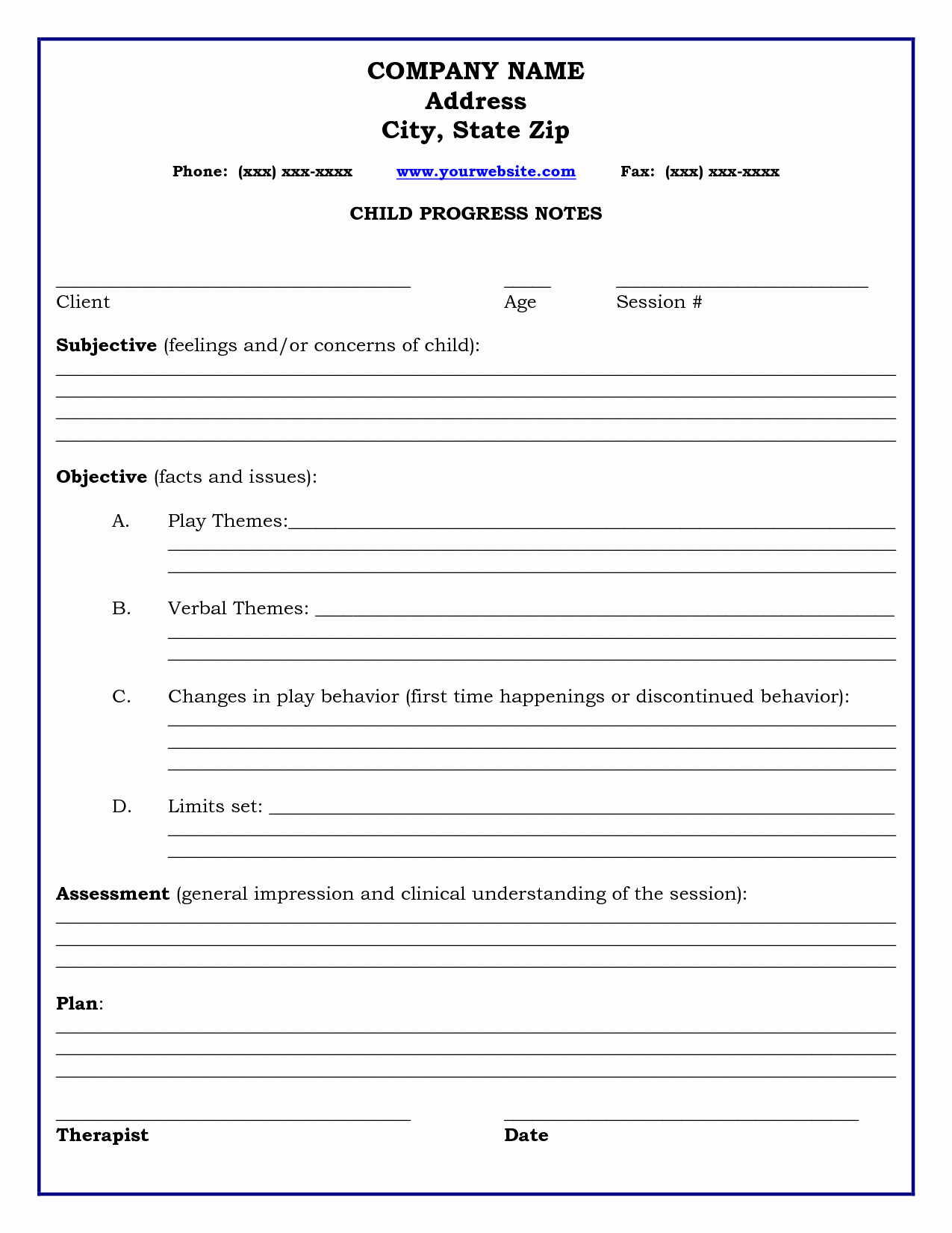 Therapist Progress Notes Template Luxury therapy Progress Note Template