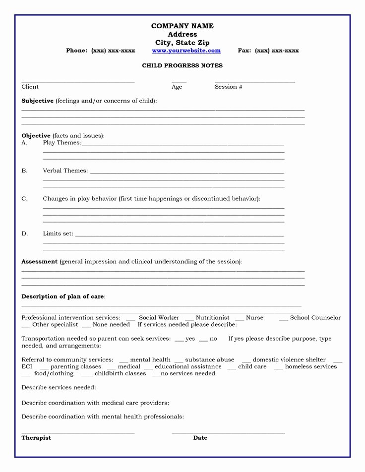 Therapy Progress Notes Template Free Unique 13 Best Images About Progress Notes On Pinterest