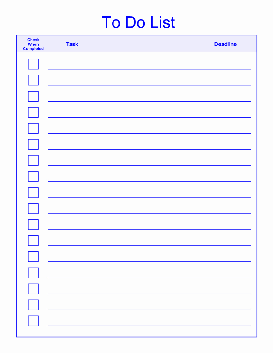 Things to Do List Template Elegant to Do List Template Printable to Do List Template Word