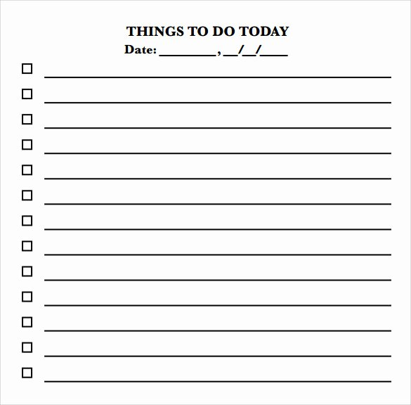 Things to Do List Template Fresh Sample to Do Checklist 9 Documents In Pdf Word