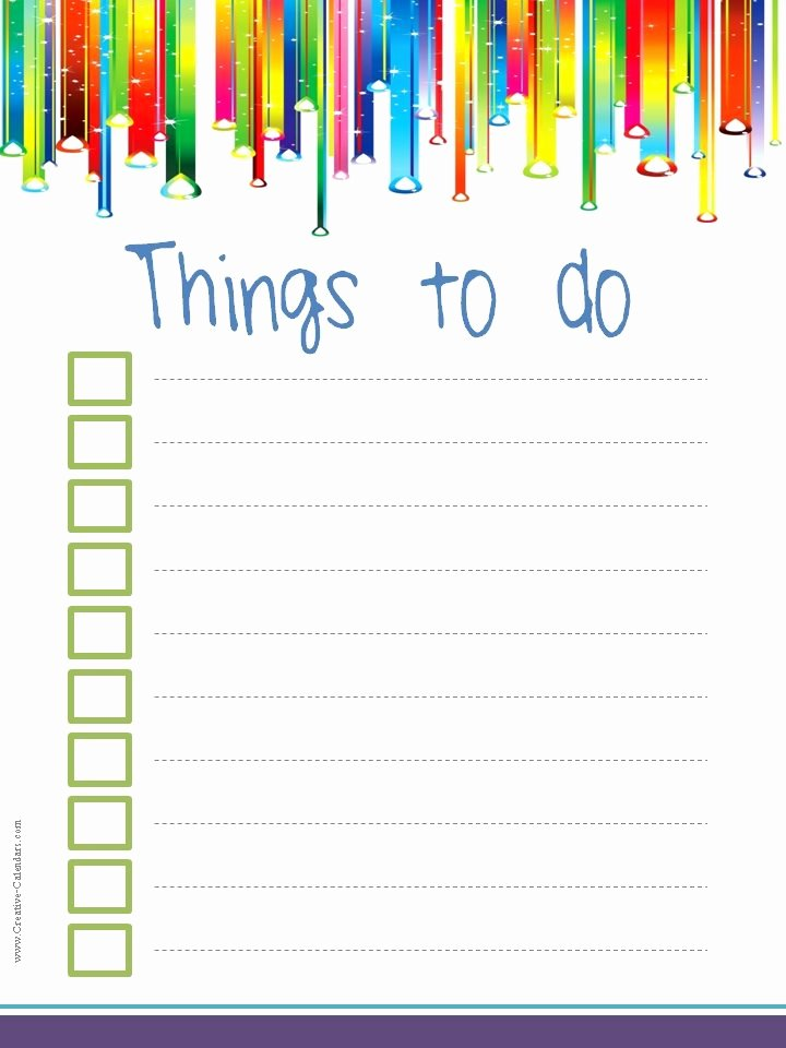 Things to Do List Template New to Do List Template
