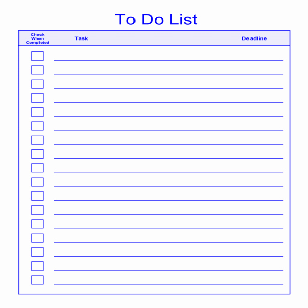 Things to Do Lists Template Awesome to Do List Template