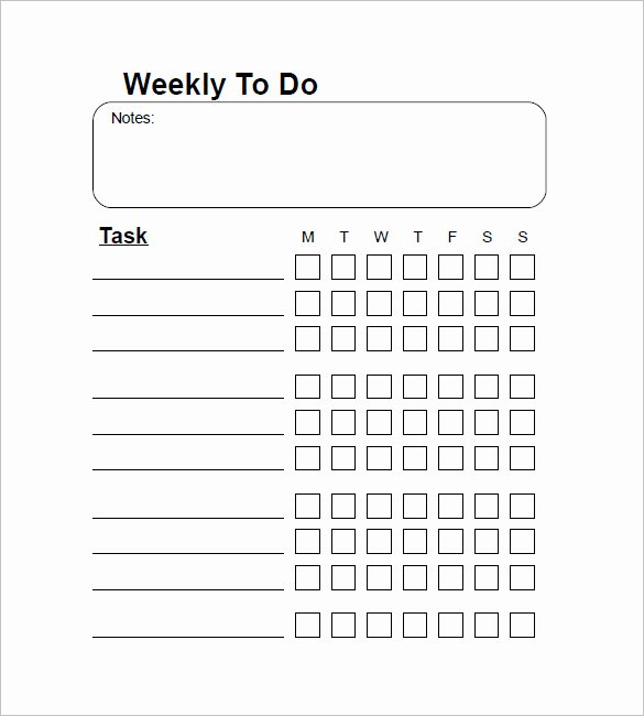 Things to Do Lists Template Beautiful Weekly to Do List Template 6 Free Word Excel Pdf
