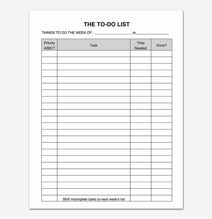Things to Do Lists Template Fresh Things to Do List Template 20 Printable Checklists