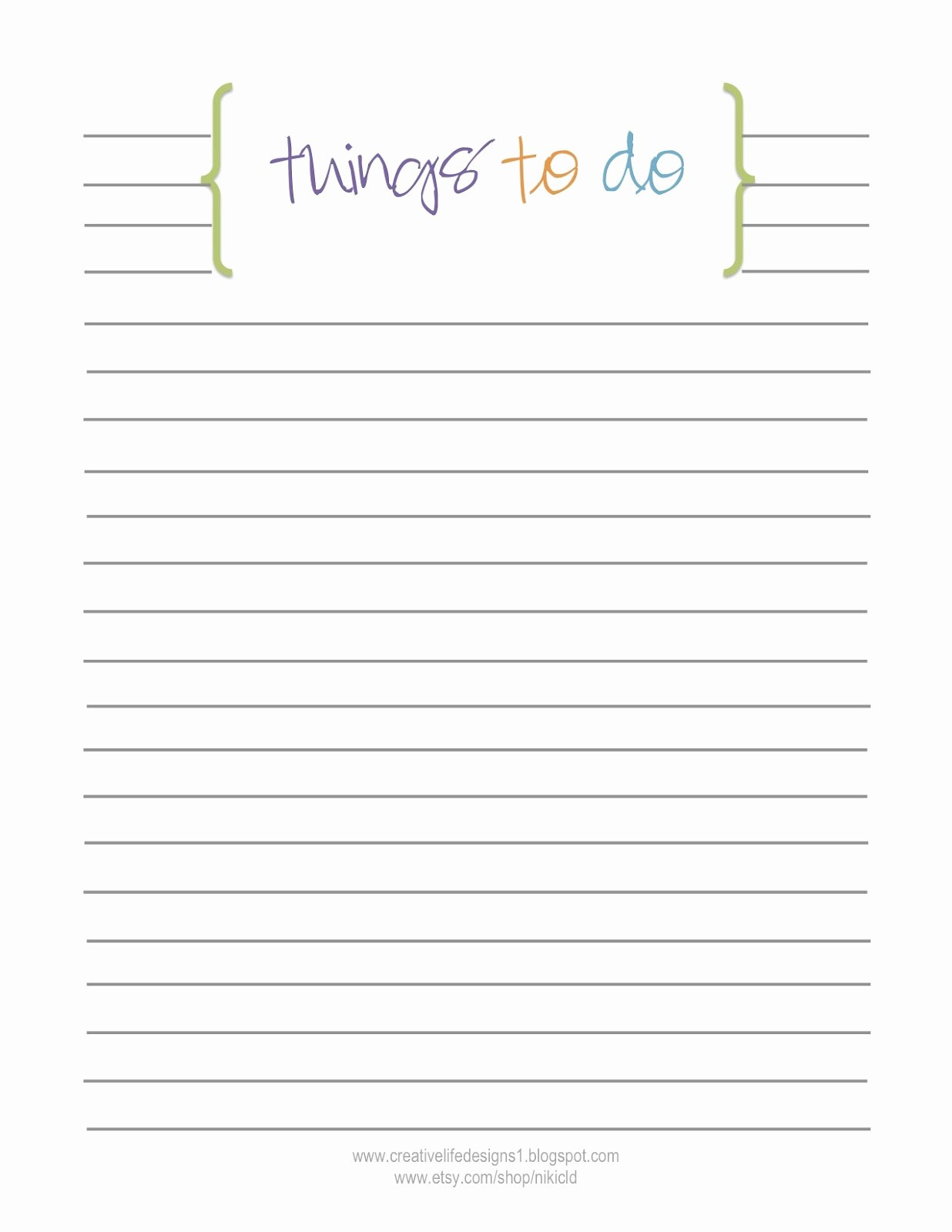 Things to Do Lists Template Inspirational Creative Life Designs Free Printables