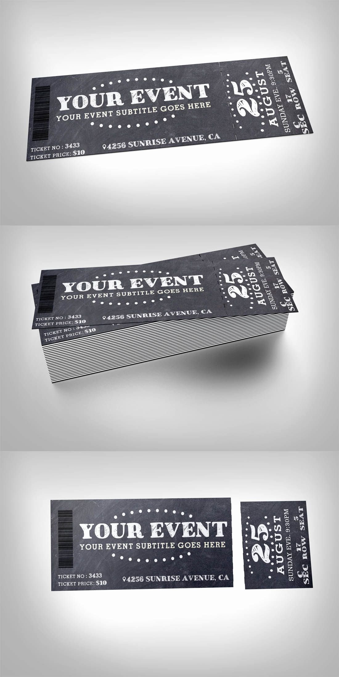 Ticket Design Template Free Best Of Chalkboard event Ticket