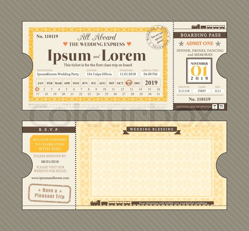 Ticket Design Template Free Fresh Vector Train Ticket Wedding Invitation Design Template
