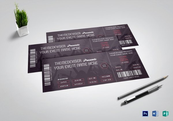 Ticket Design Template Free New 53 Printable Ticket Templates Psd Ai Word