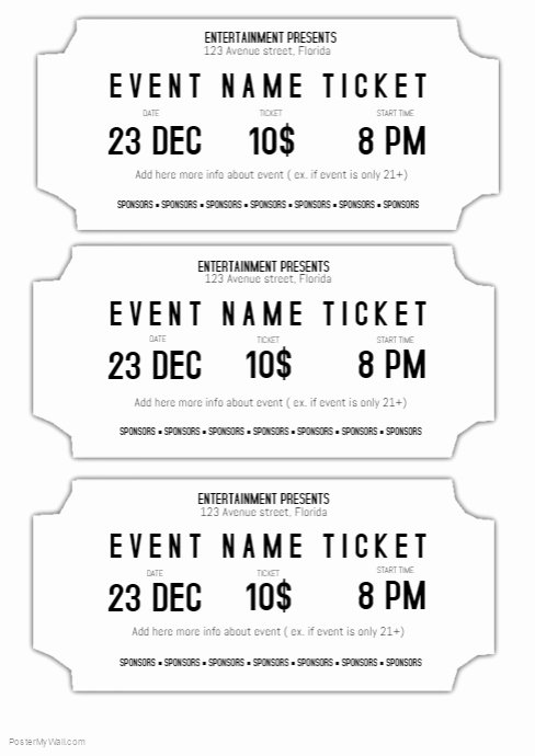Ticket Design Template Free New event Ticket Template Black and White Printable