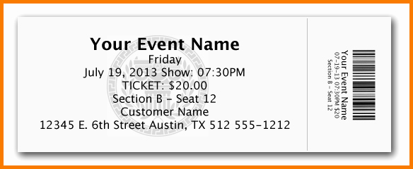 Ticket Template for Pages Awesome Free event Ticket Template