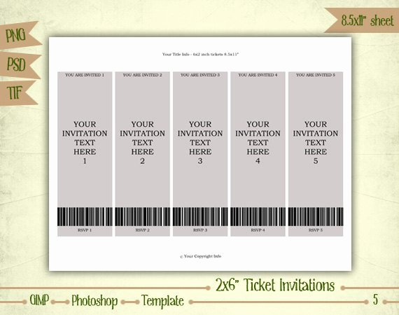 Ticket Template for Pages Beautiful Ticket Invitations Digital Collage Sheet Layered Template
