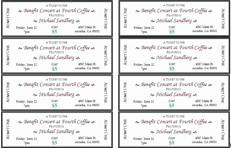 Ticket Template for Pages Fresh Ticket Templates 8 Per Page Inspirational Raffle Tickets