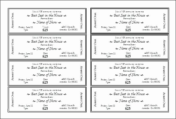 Ticket Template for Pages Lovely Blank event Ticket Template Stunning Tickets Printable for