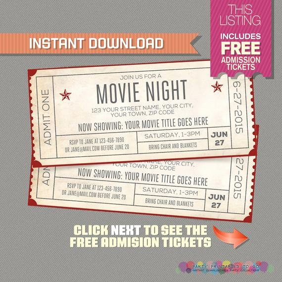 Ticket Template for Pages Lovely Movie Night Invitation with Free Admission Tickets Movie