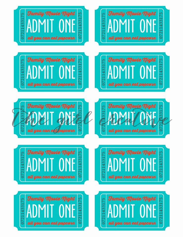 Ticket Template for Pages New Family Movie Night with Printable Tickets the Girl Creative