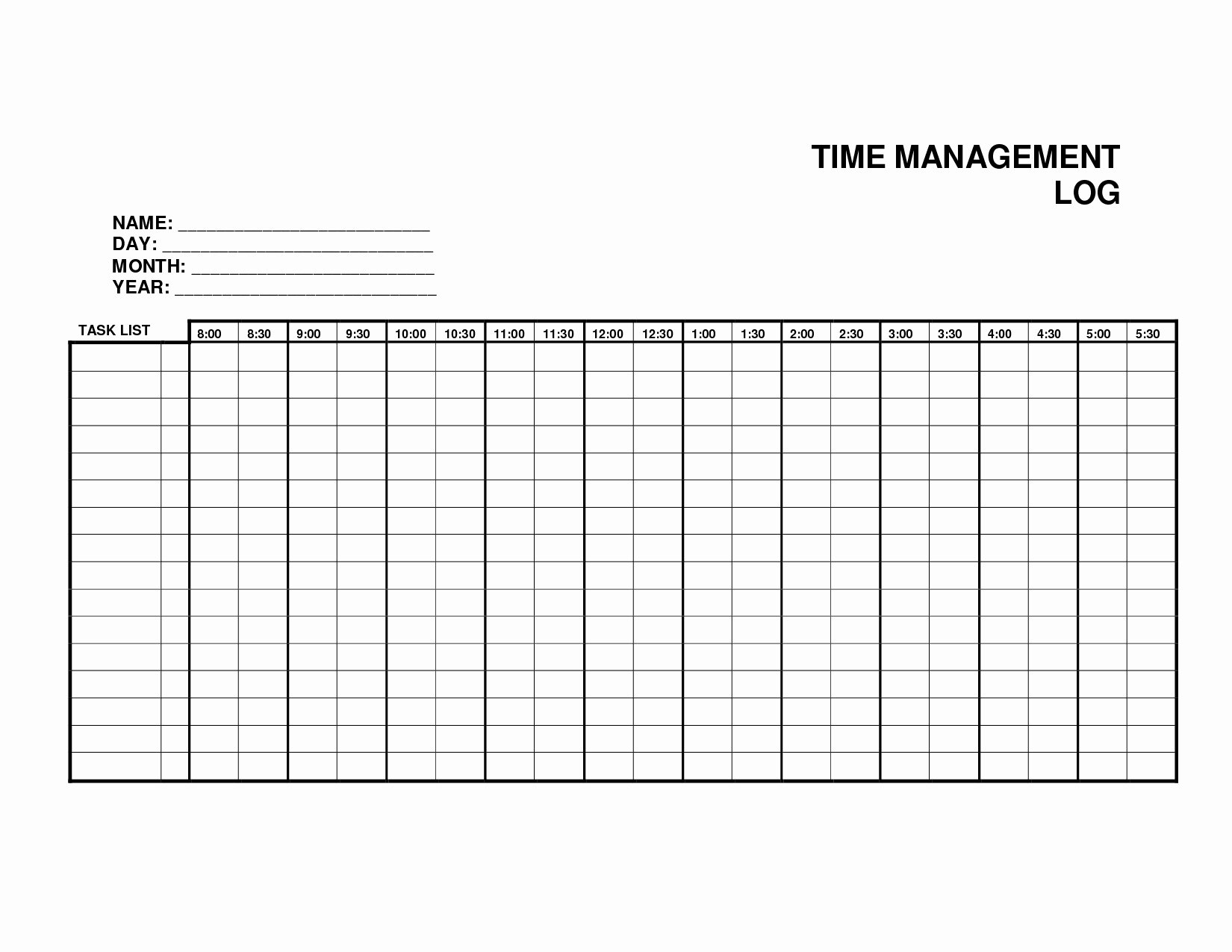 Time Management Log Template Awesome 10 Best Of Printable Time Management Log Time