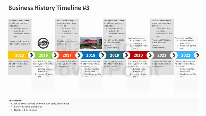 Timeline Ppt Template Free Unique Business History Timeline Editable Powerpoint Template
