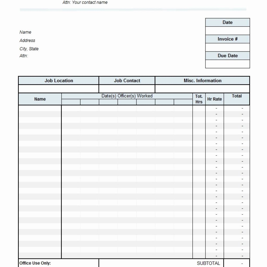 Timesheet Invoice Template Excel Fresh Timesheet Free Invoice Templates for Excel Pdf with
