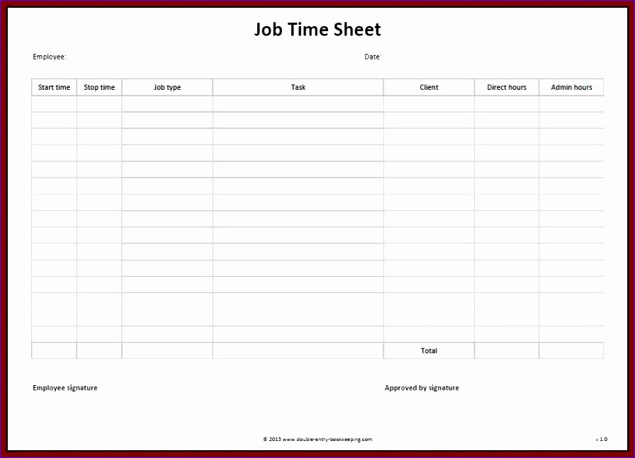 Timesheet Invoice Template Excel New 10 Timecard Template Excel Exceltemplates Exceltemplates