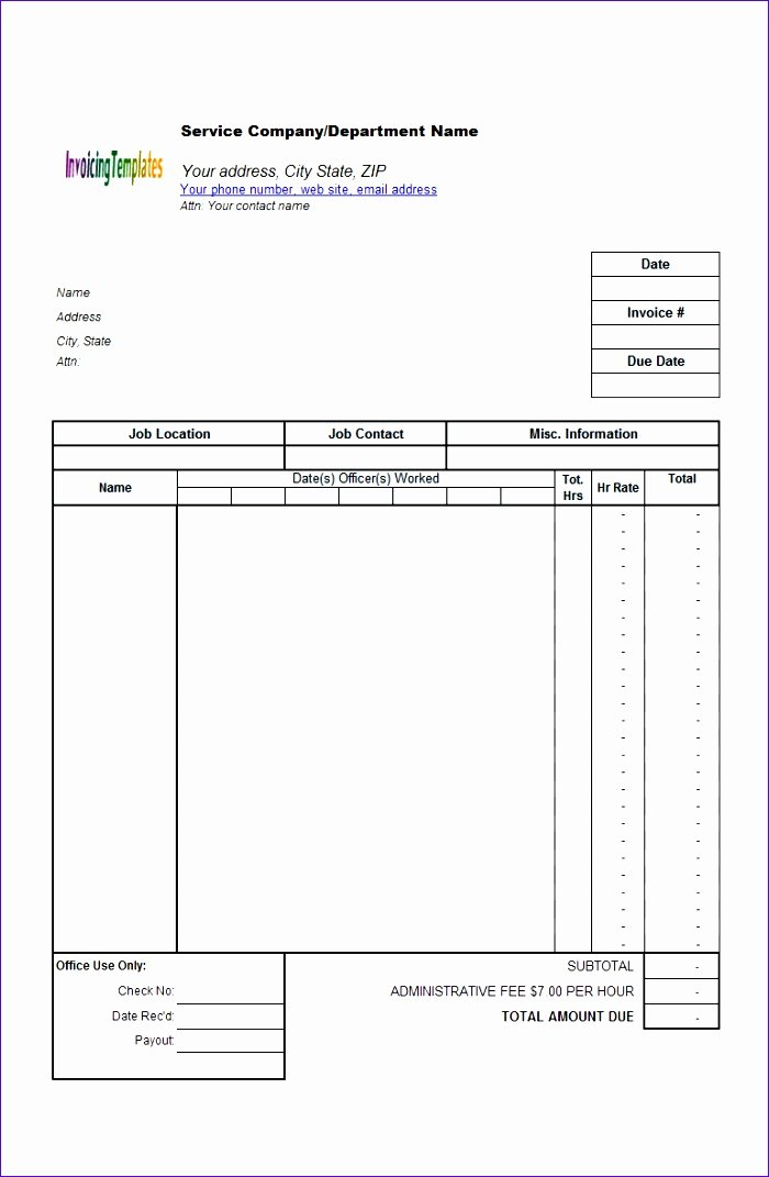 Timesheet Invoice Template Excel New 12 Timesheet Invoice Template Excel Exceltemplates