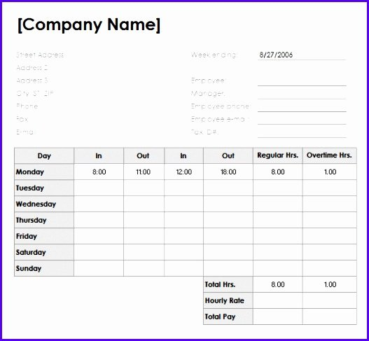 Timesheet Invoice Template Excel New 9 Timesheet Excel Templates Exceltemplates Exceltemplates