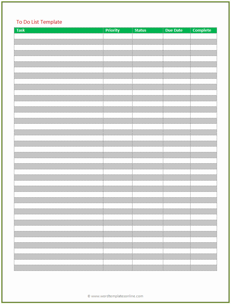 Todo List Template Word Beautiful Printable to Do List Microsoft Word Templates