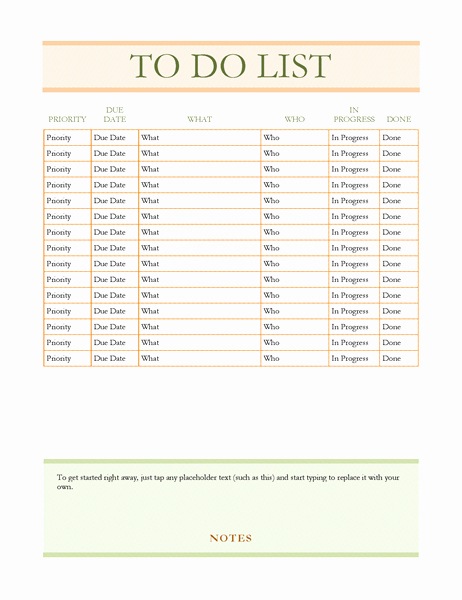 Todo List Template Word Beautiful to Do List