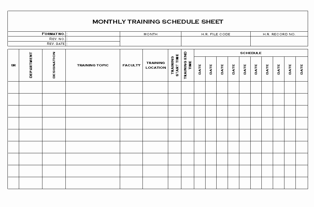 Training Calendar Template Excel Beautiful Excel Training Plan Template Training Schedule Template