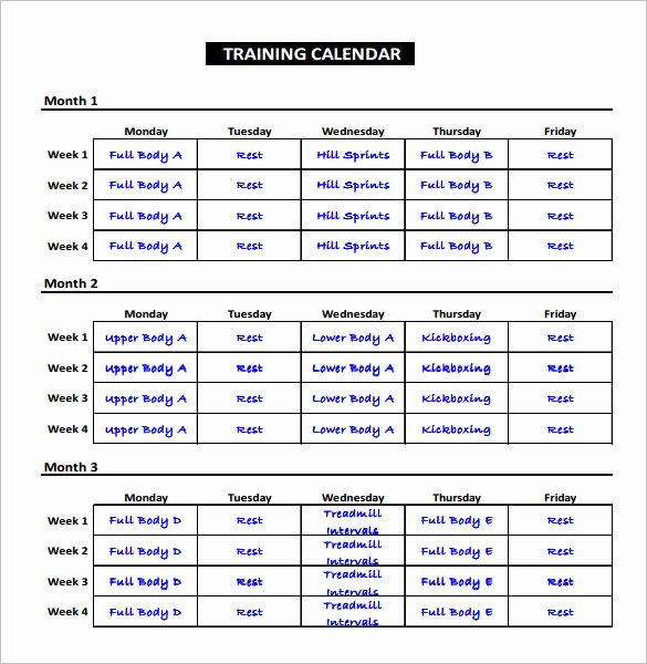 Training Calendar Template Excel Beautiful Exercise Schedule Template – 7 Free Word Excel Pdf