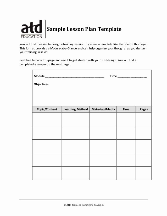 Training Course Design Template Best Of Sample Lesson Plan Template