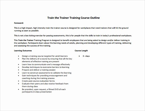 Training Course Design Template Best Of Training Outline Template 7 Download Free Documents In