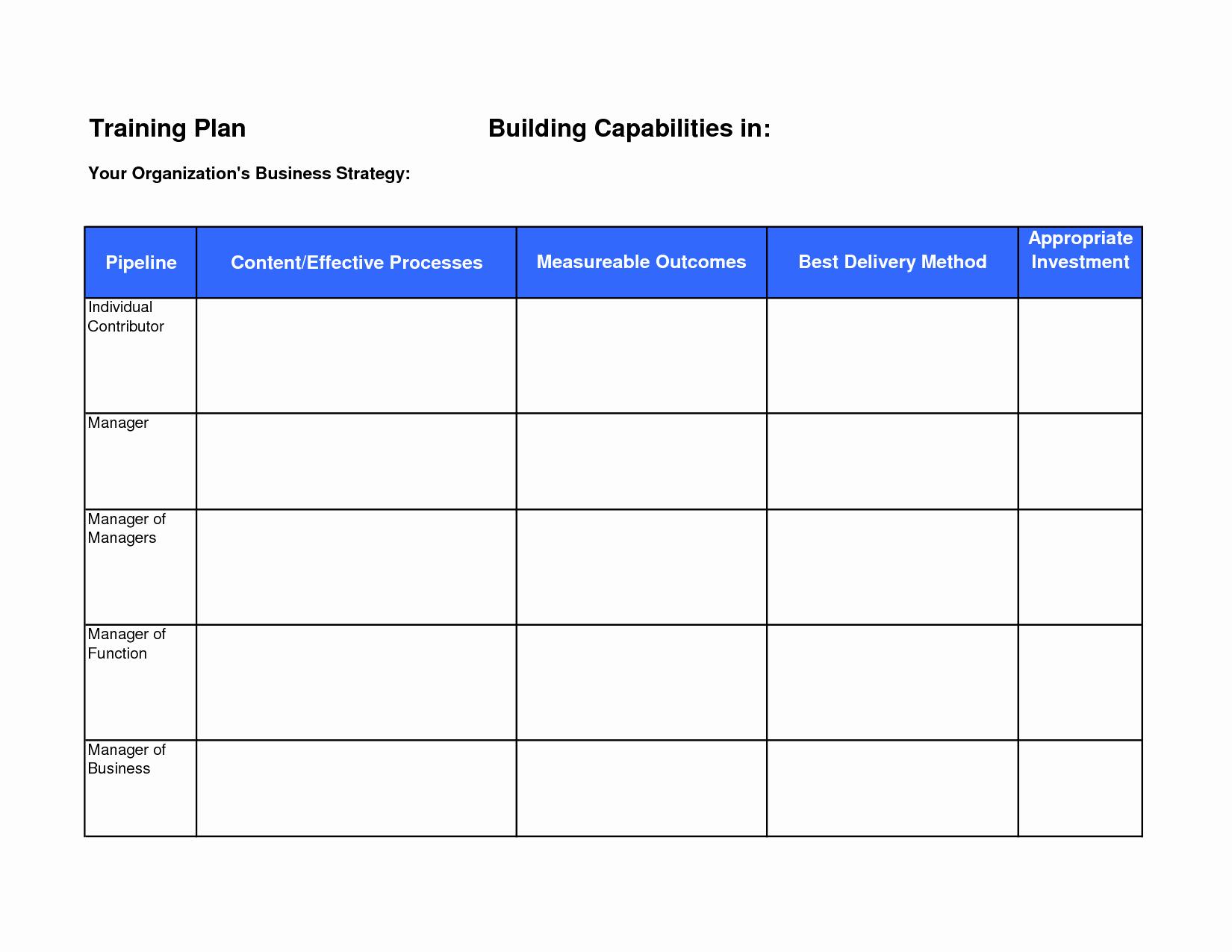 Training Course Design Template Fresh Training Plan Template