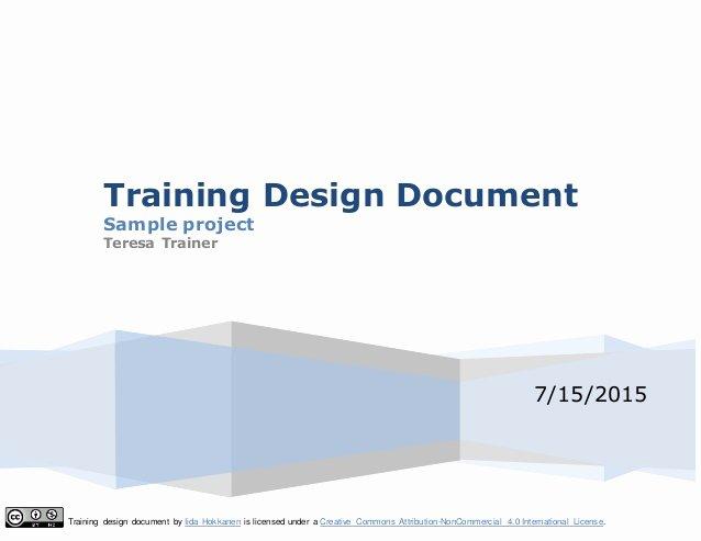 Training Course Design Template Unique Training Design Document Template 1
