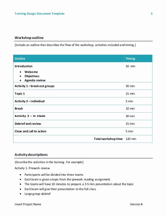 Training Course Design Template Unique Training Design Document Template 2