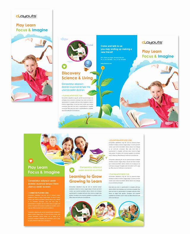 Training Flyer Template Free Beautiful Child Education Center Tri Fold Brochure Template Design