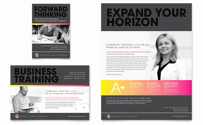 Training Flyer Template Free Lovely Adult Education & Business School Flyer & Ad Template Design