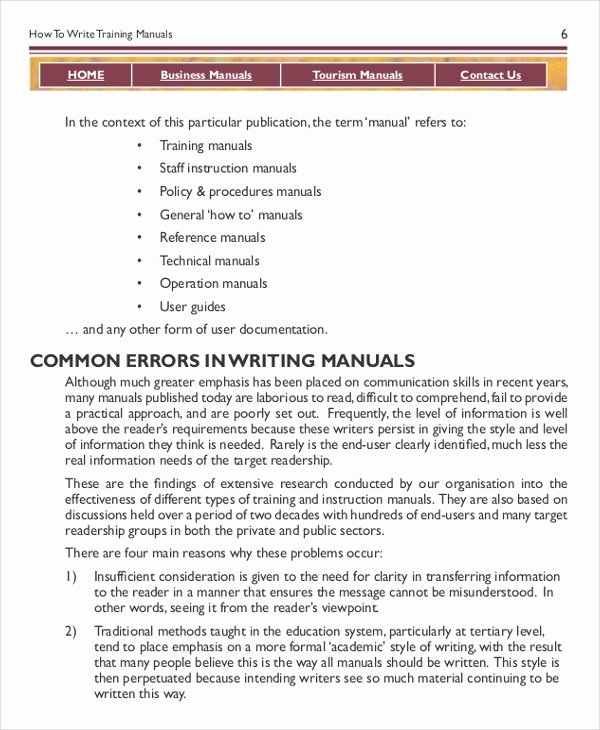 Training Manual Template Word Fresh Instruction Manual Template 10 Free Word Pdf Documents