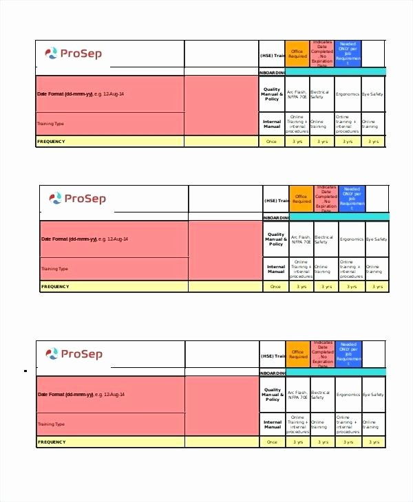 Training Matrix Template Free Excel Awesome Safety Training Calendar Template Excel Matrix 6 Free