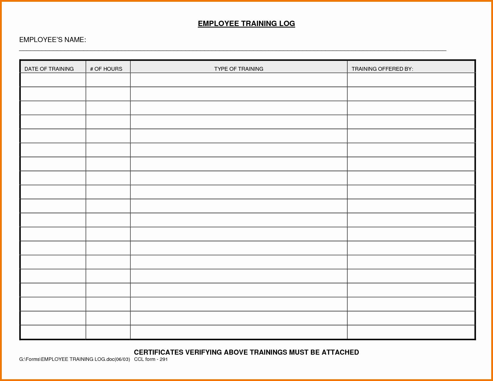 Training New Employees Template Beautiful Excel Employee Training Log Template Employee Training